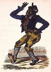 Image of a minstrel show character wearing blackface, over exaggerated red lips, looking uncoordinated.